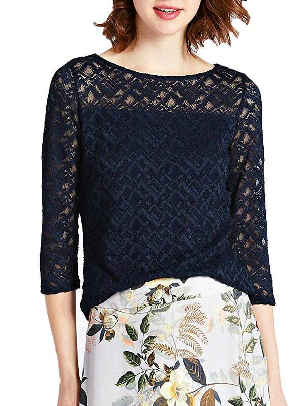 Женственная кружевная блуза цвета полуночный синий р.18