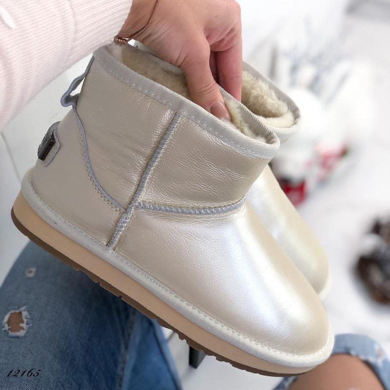 ❤ женские перламутровые зимние кожаные угги ботинки сапоги пол...