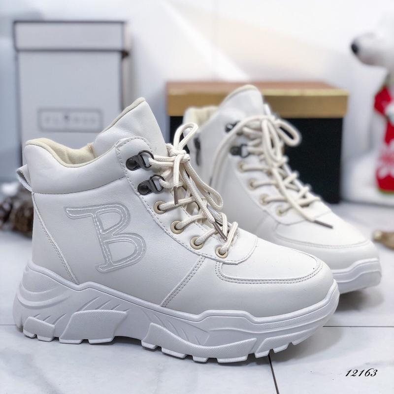 ❤ женские белые зимние  ботинки сапоги полусапожки ботильоны н...