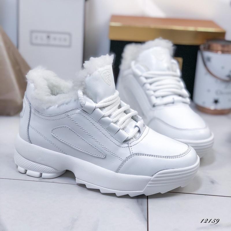 ❤ женские белые зимние кожаные кроссовки ботинки сапоги полуса...