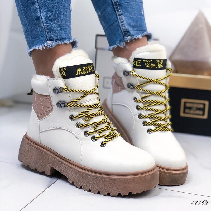 ❤ женские бежевые зимние ботинки сапоги полусапожки ботильоны ...