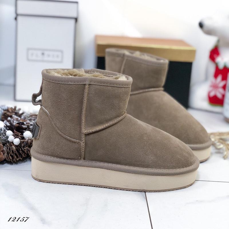 ❤ женские бежевые зимние замшевые угги ботинки сапоги полусапо...
