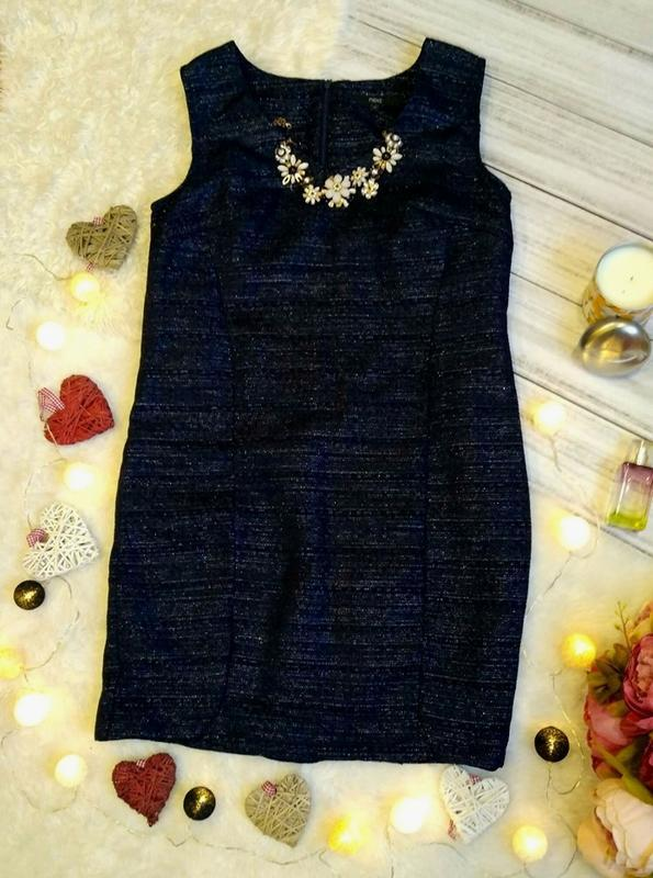 Нарядное  мерцающее жаккардовое платье размер 12-14 (44-46)