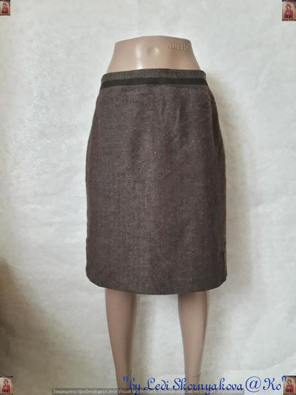 """Новая фирменная шерстянная юбка миди в принт """"ёлочка"""" с замшев..."""