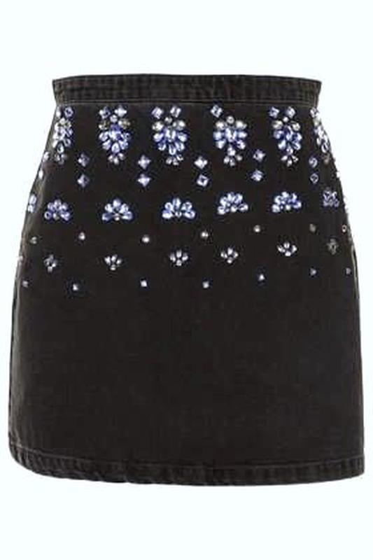 Topshop джинсовая юбка расшитая камнями