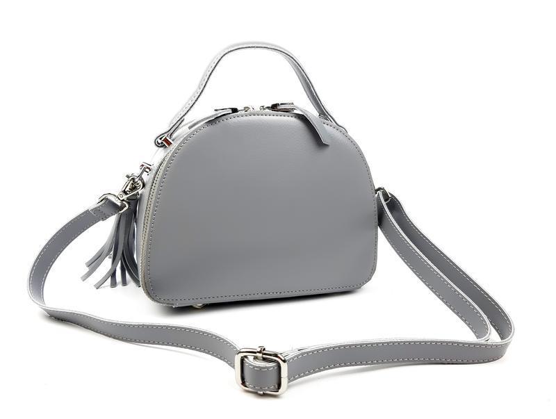 Полукруглая женская кожаная сумка серая galanty