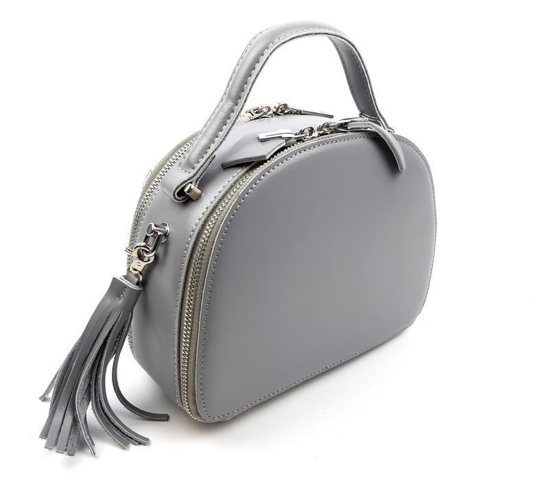Полукруглая женская кожаная сумка серая galanty - Фото 2