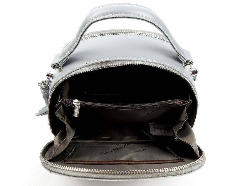 Полукруглая женская кожаная сумка серая galanty - Фото 3