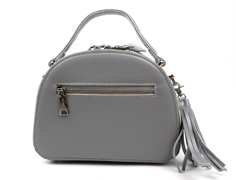 Полукруглая женская кожаная сумка серая galanty - Фото 4