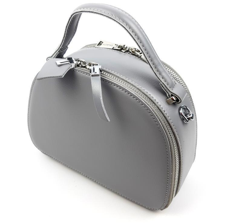 Полукруглая женская кожаная сумка серая galanty - Фото 5