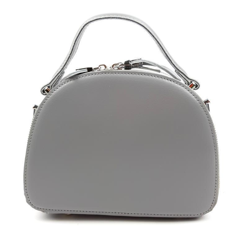 Полукруглая женская кожаная сумка серая galanty - Фото 7