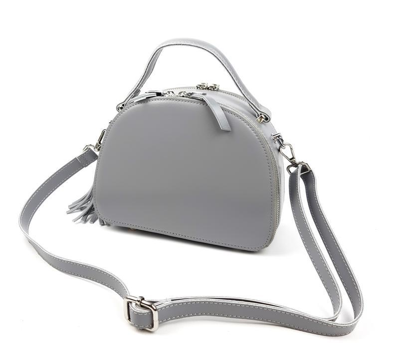 Полукруглая женская кожаная сумка серая galanty - Фото 8