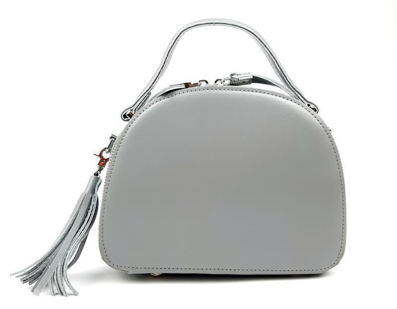Полукруглая женская кожаная сумка серая galanty - Фото 9