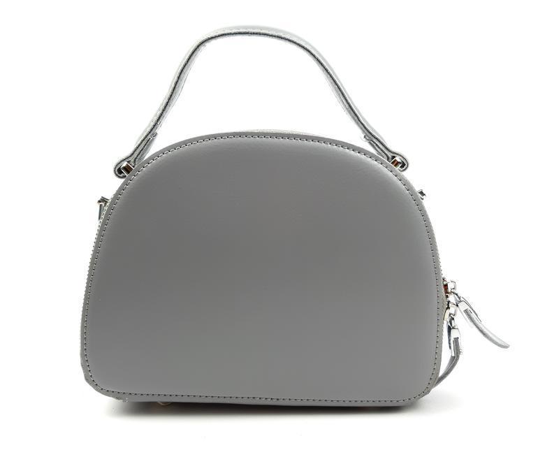 Полукруглая женская кожаная сумка серая galanty - Фото 10