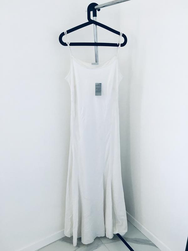 Новое длинное платье в пол из микса льна