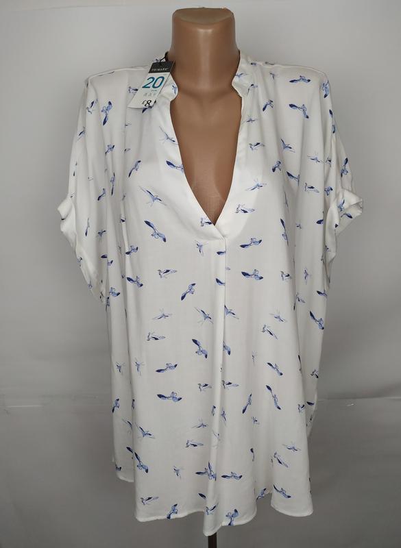 Блуза новая красивая в птички натуральная большого размера pri...
