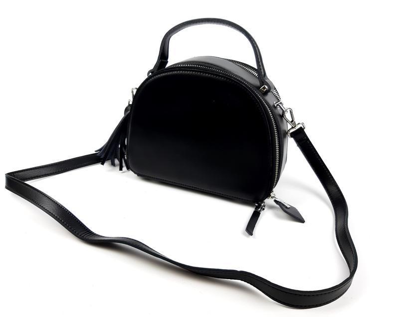 Женская кожаная сумка полукруглая черная