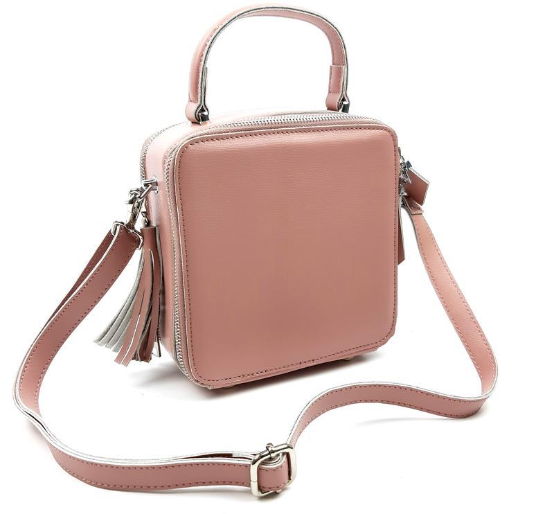 Женская кожаная розовая сумка