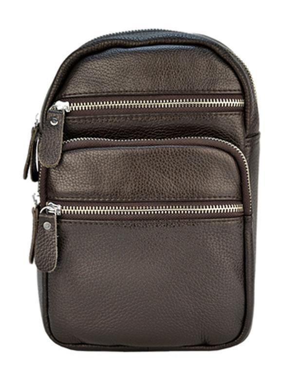 Мужская кожаная сумка через плечо темно-коричневого цвета