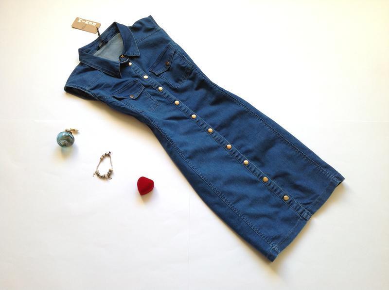 Джинсовое платье рубашка сарафан