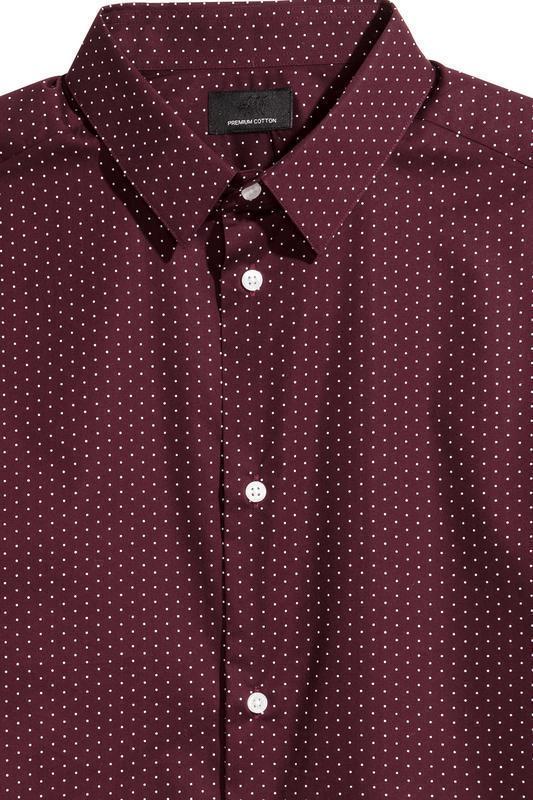 Бордовая рубашка h&m premium quality , slim fit !