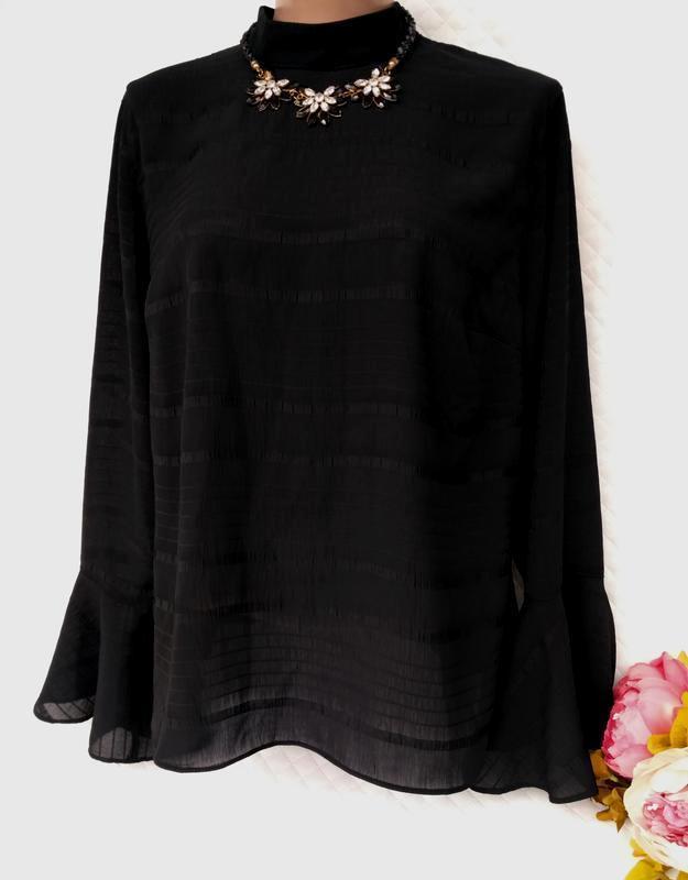 Красивая блуза в полоску рукава рюши размер 18-20 (50-52)