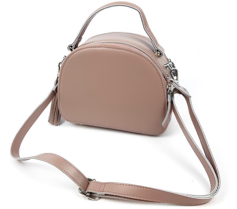 Женская кожаная сумка розовая galanty