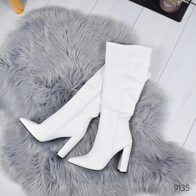❤ женские белые осенние деми сапоги на флисе ❤