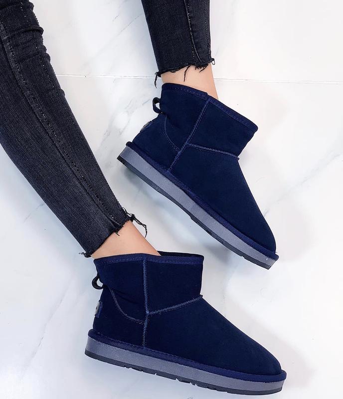 Новые шикарные женские зимние синие угги ботинки