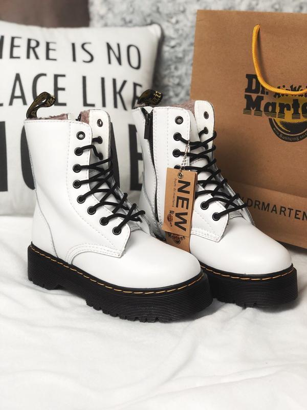 Ботинки dr. martens jadon white fur (с мехом)❄️