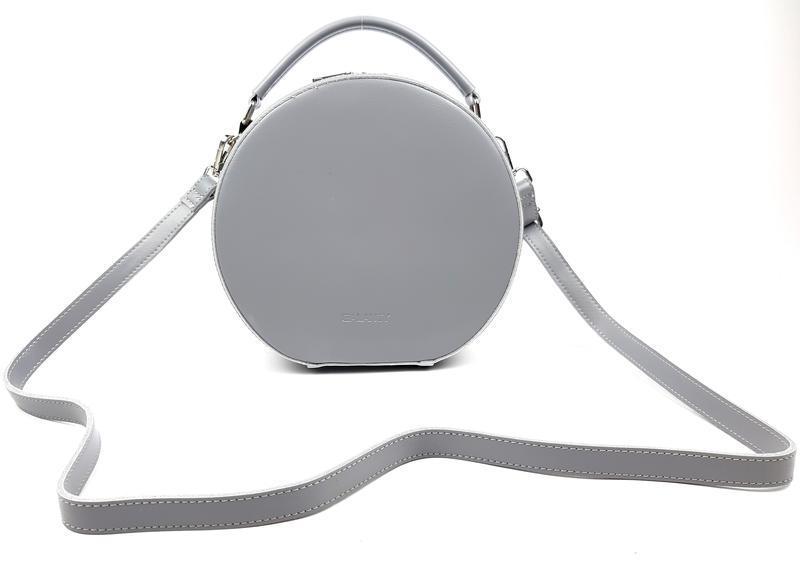 Женская кожаная круглая серая сумка повседневная