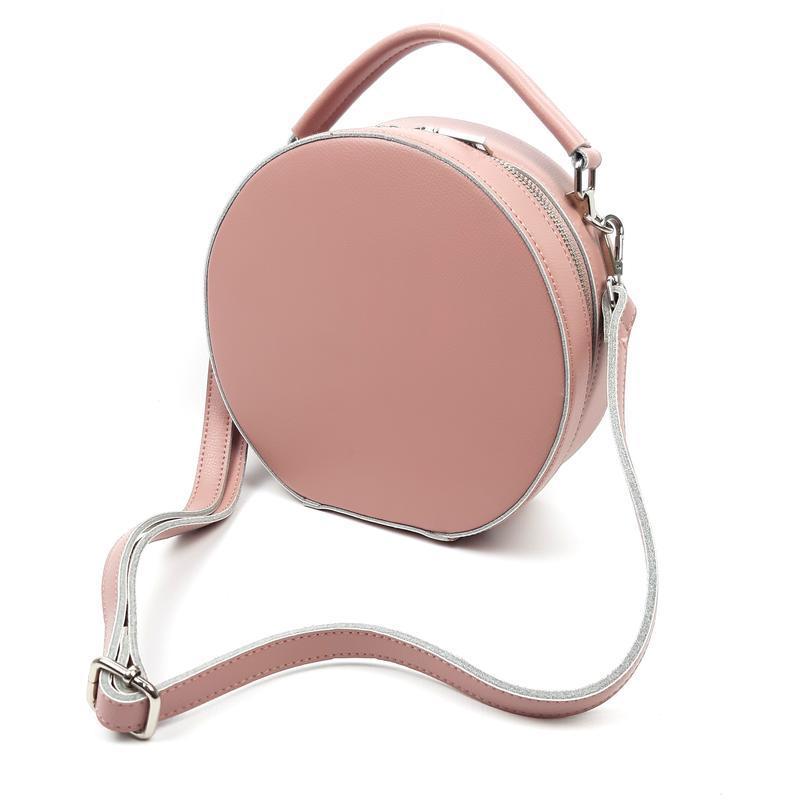 Женская кожаная круглая сумка розовая galanty