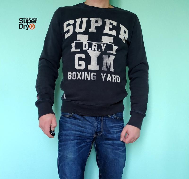 Теплый мужской свитшот на флисе superdry boxing yard,оригинал