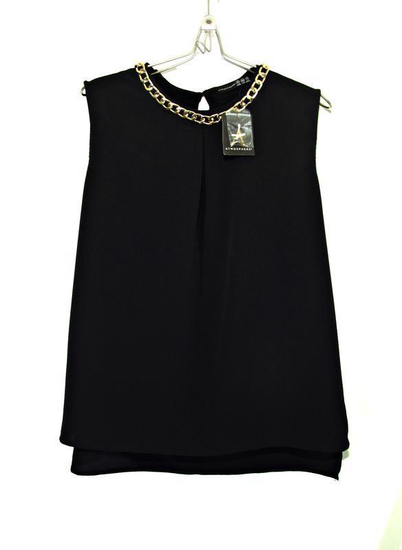 Матовая блуза с золотистой цепью р.16