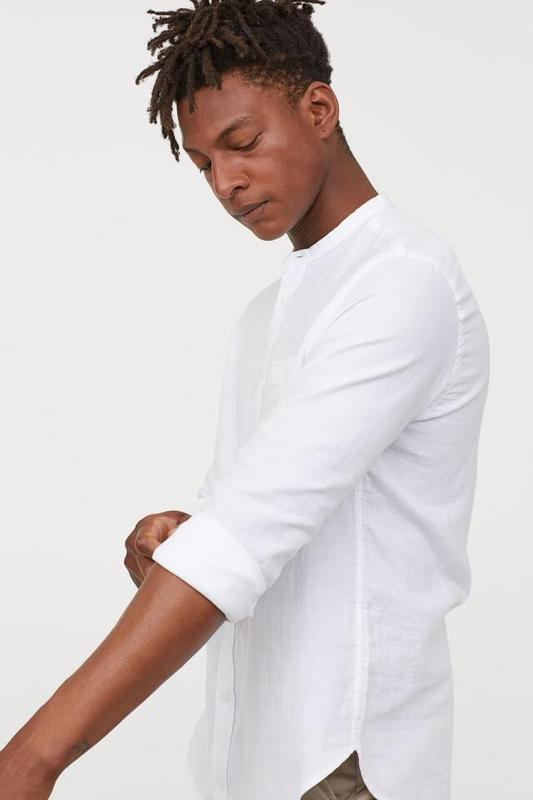 Белая хлопковая рубашка h&m !