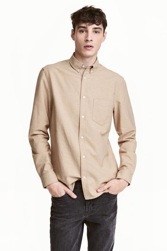 Бежевая оксфордская рубашка h&m !