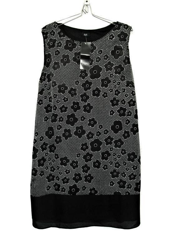 Черно-белое платье-шифт с burnout design р.18