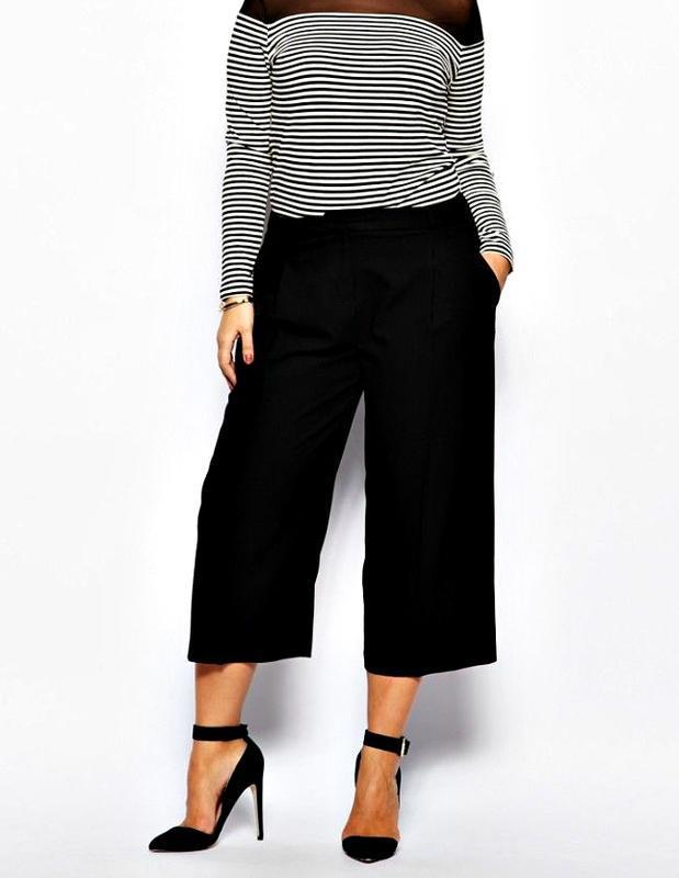 Стильные высокие брюки-кюлоты из качественной креп ткани р.20