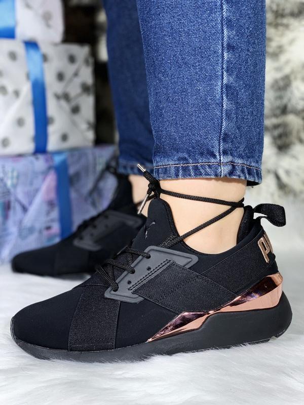 Puma muse metal шикарные женские кроссовки чёрные
