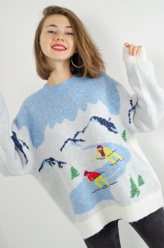 H&m уютный праздничный, новогодний свитер, свободный джемпер, ...