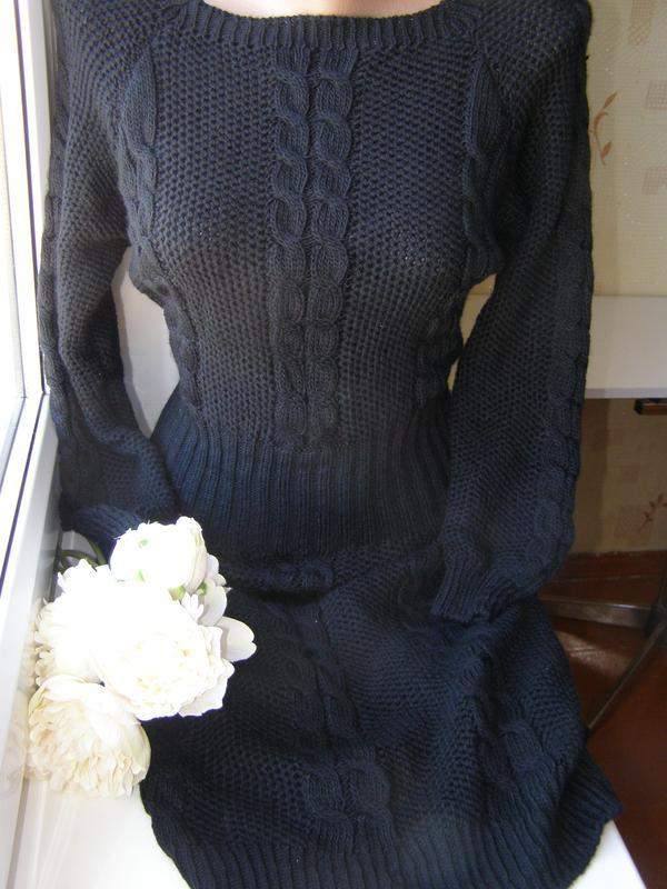 Зимнее тёплое вязанное итальянское платье миди  s-m размер