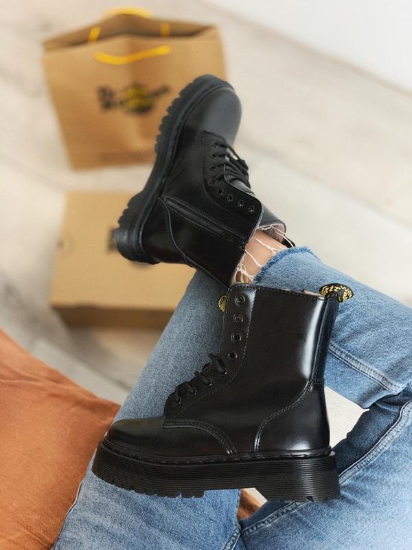 Dr martens jadon mono black fur женские зимние ботинки мартинс...