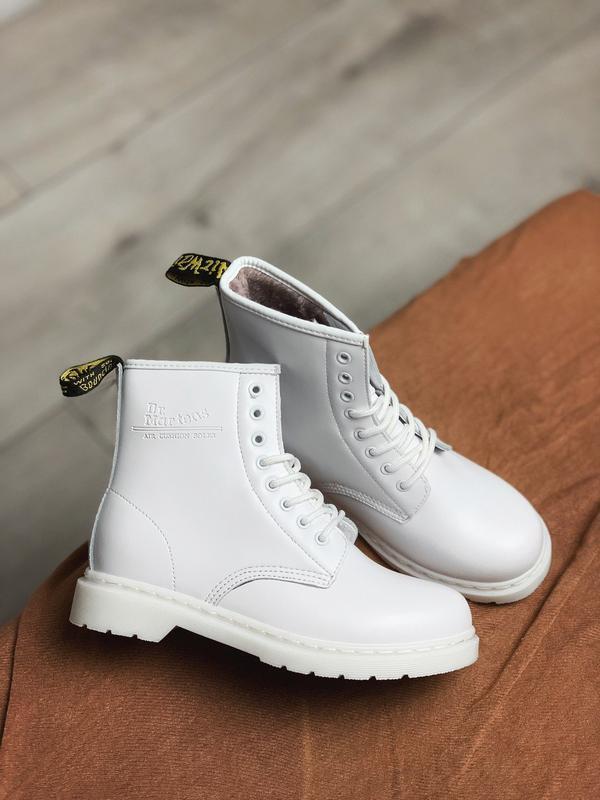 Dr martens white 1460 fur женские зимние ботинки мартинс чёрны...
