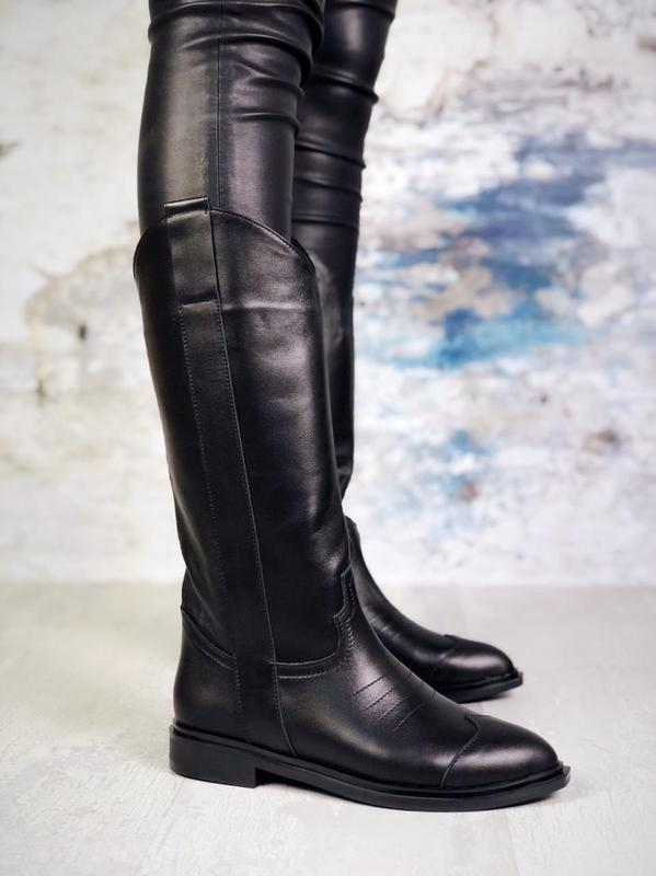❤ женские черные осенние деми кожаные ботинки сапоги полусапож...