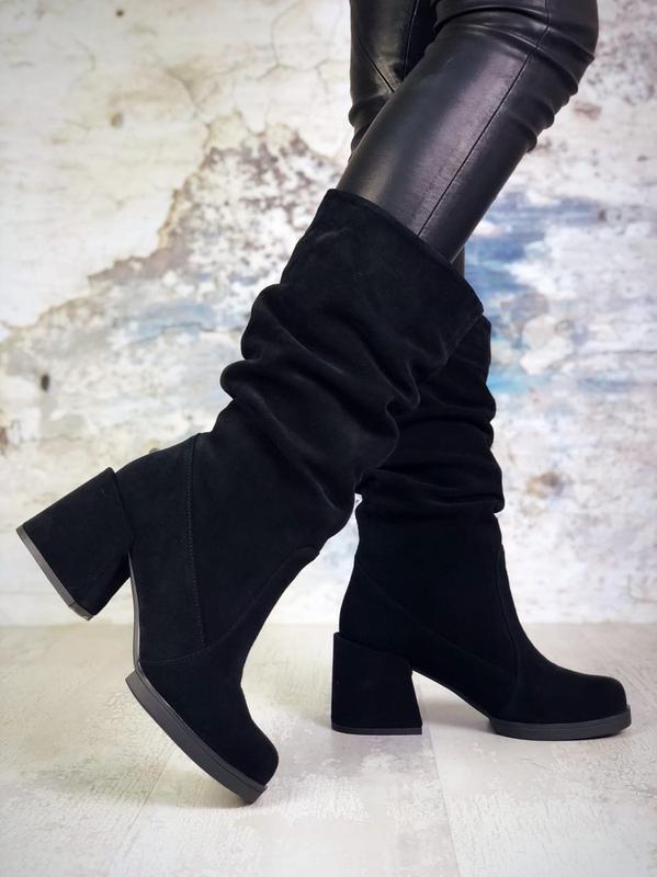 ❤ женские черные осенние деми замшевые ботинки сапоги полусапо...