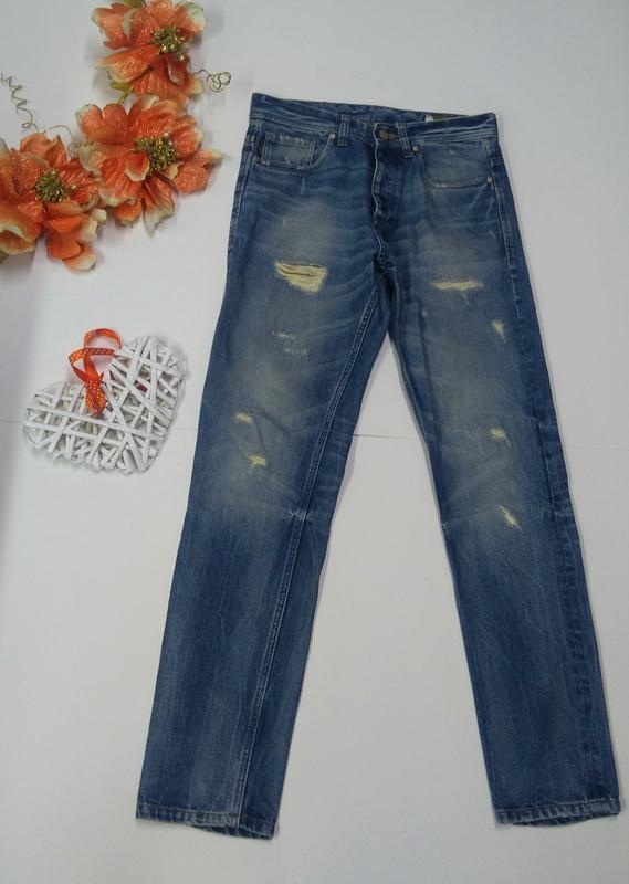 Мужские зауженные джинсы на пуговицах jack & jones размер 32
