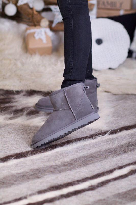 Ugg classic mini gray! женские замшевые зимние угги/ сапоги/ б...