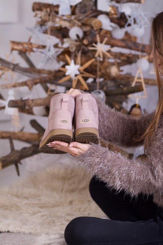 Ugg classic mini pink! женские замшевые зимние угги/ сапоги/ б...