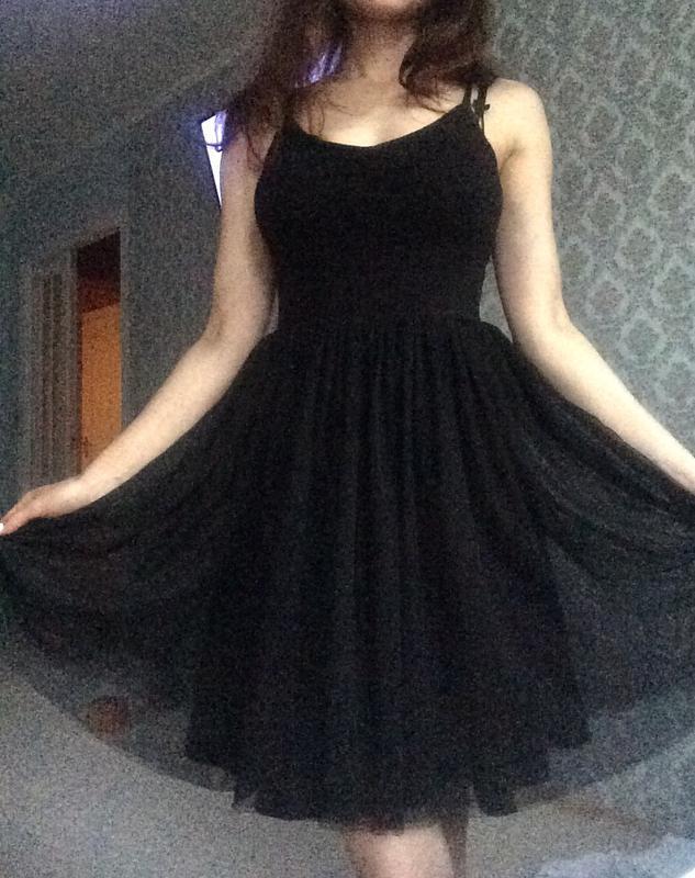 На новый год черное платье хлопок+фатин s