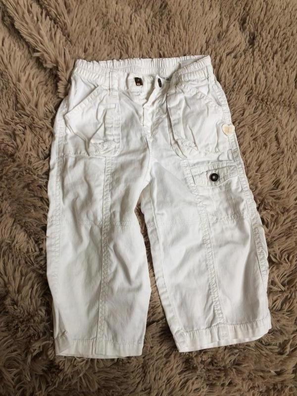 Белые хлопковые штаны с вышивкой